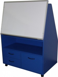 Mobile Teaching Station - Whiteboard/5 Tier Bookcase